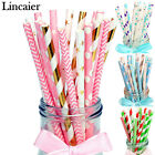 25pcs Striped Paper Drinking Straws Wedding Birthday Party Decorations Supplies