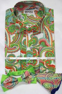 Menz Mens Dress Shirt Tie Hanky Combo Green Paisley Ebay
