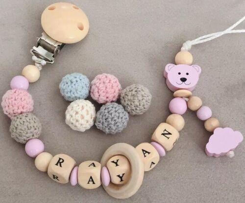 Schnullerkette mit Namen ★ Teddy Bär /& Wolke ★ Rosa  ★ Mädchen ★ Babygeschenk