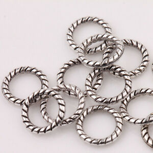 Lots-Antique-Tibetan-Silver-Circle-Spacer-Bead-Ring-Jewelry-Finding-Craft-8mm