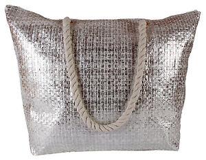 Lorenz-Large-Metallic-Effect-Woven-Gold-Silver-Holiday-Beach-Bag-Beachbag