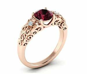 1-6ct-Round-Cut-Red-Garnet-Floral-Filigree-Solitaire-Ring-14k-Rose-Gold-Finish