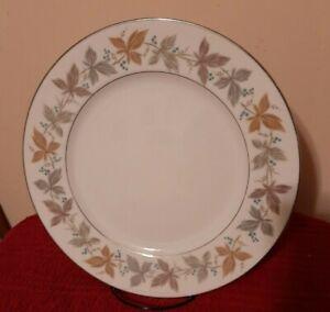 "Sango Fine China ARGENT 10 1/2"" Dinner Plates Leaves/Platinum Accents - Set of 5"