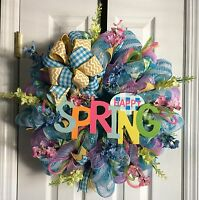 22 Spring Floral Happy Spring Deco Mesh Wreath Free Shipping