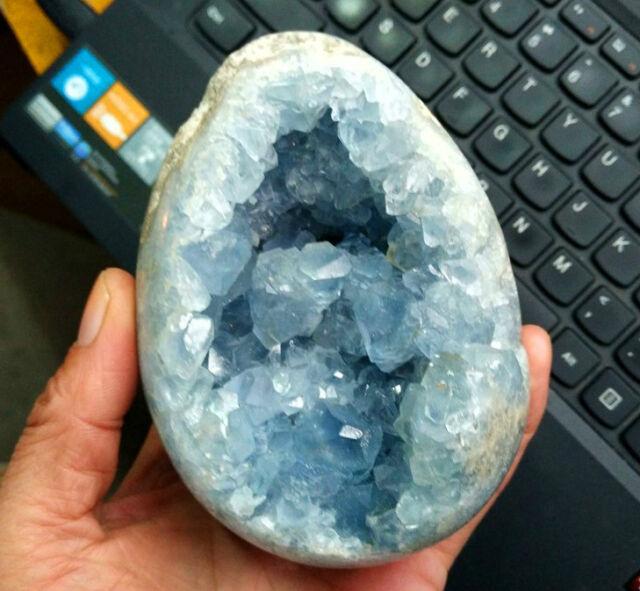 1517g Natural Crystal Sparkling Blue Celestite Geode Mineral Specimen  Y112