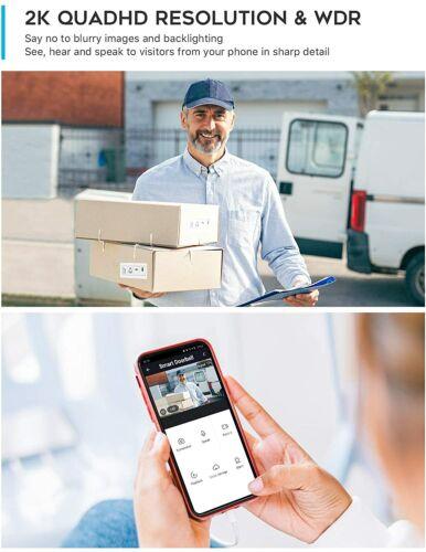 GazingSure WiFi Video Doorbell Camera w// Chime 2K Quad HD Smart Detection Alexa