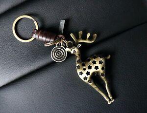 AuPra-Deer-Keyring-Leather-Vintage-Animal-Keychain-Key-Ring-Stag-Gifts