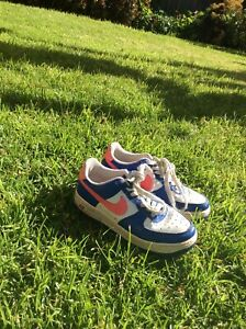Details about Vintage Kids Nike Air Force Ones Pink, Blue, White Amazing Condition