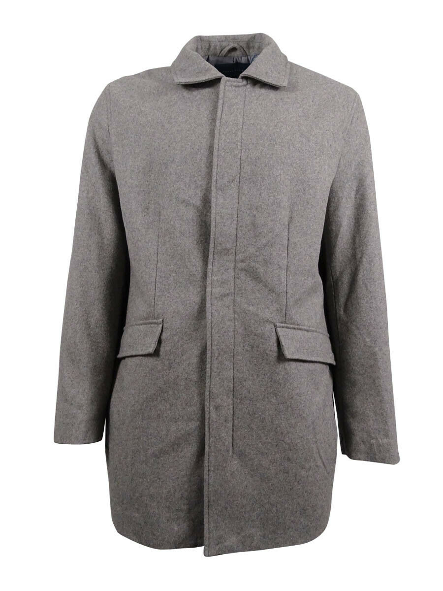 Perry Ellis Men's Wool Blend Overcoat (XL, Alloy)