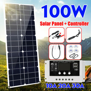 100W 18V Solar Panel Dual USB DC Battery Charger+Controller Marine Boat RV Car