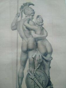 Rarissime très grand format gravure de Valmont XIXème curiosa nus Mars et Venus