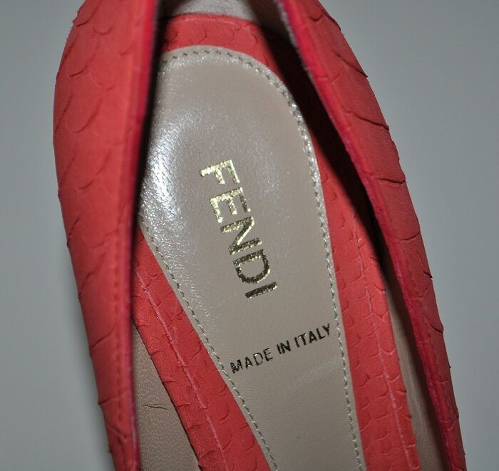 New FENDI 'Superstar' 'Superstar' 'Superstar' Leather Open Toe Platform Pump chaussures Fragola Coral S 9   39 36cc1a