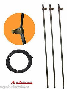 3 EARTH GROUNDING ROD, CLAMPS & INSULATED WIRE -  ELECTRIC FENCE ENERGISER STAKE