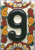 Black Mexican Tile Talavera Ceramic House Numbers Tile