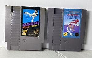 KUNG-FU-amp-KARATE-CHAMP-5-screw-NES-Nintendo-Entertainment-System-Lot-of-2-NES