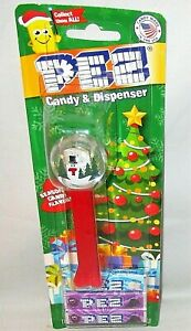 CHRISTMAS-Pez-Dispenser-SNOWMAN-SNOWGLOBE-Carded