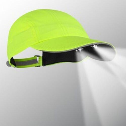 4 LED LIGHTED CAP FOR RUNNING BATTERIES HI-VIZ YELLOW. WALKING SAFETY INCL
