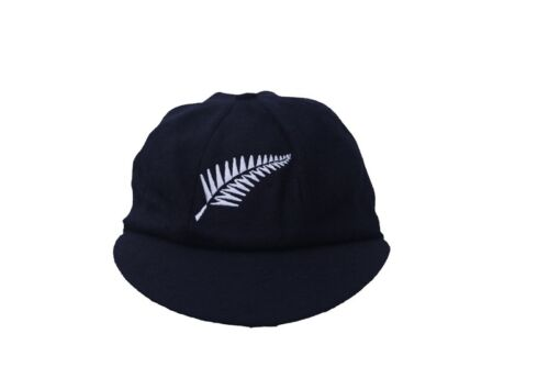 CLASSICAL TRADITIONAL BLACK Melton Wool cricket Cap NEW ZEALAND LOGO 58-61CM