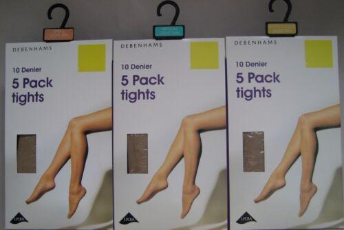 Debenhams 5 Pair Light Tan Tights 86-95cm//96-105cm//117-128cm 10 Denier Matte
