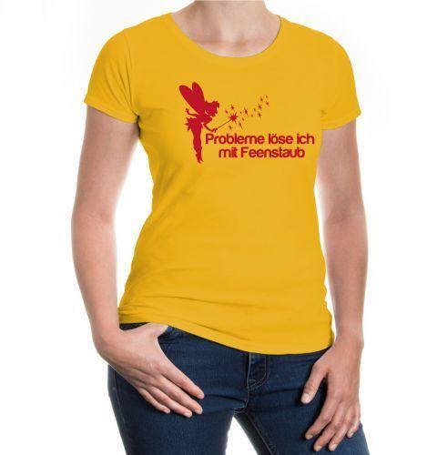 Damen Kurzarm Girlie T-Shirt Probleme löse ich mit Feenstaub Märchen Fabelwesen
