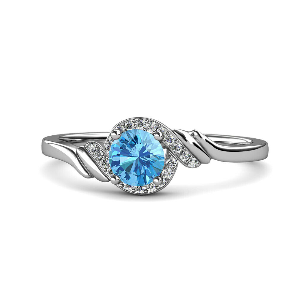 bluee Topaz and Diamond Womens Bypass Engagement Ring 1.13 ctw 14K gold JP 115421
