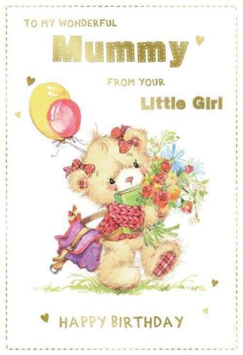 To My Wonderful Mummy From Your Little Girl Bear Design Happy Birthday Card