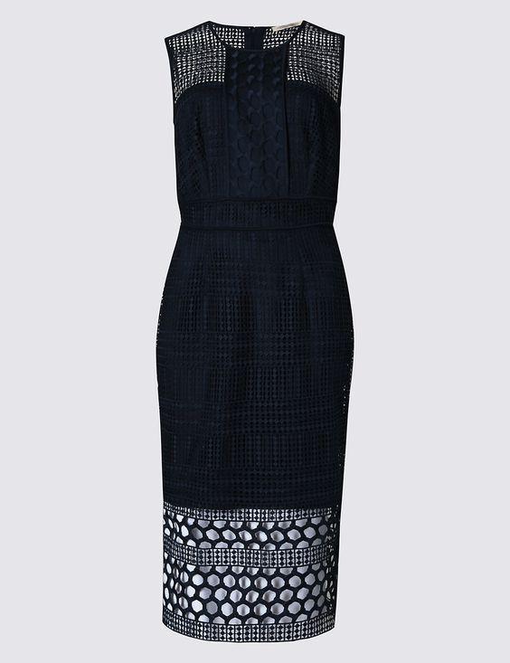 New M&S COLLECTION Navy Navy Navy Crochet Panelled Bodycon Midi Dress Sz UK 16   Qualität zuerst    Modisch    Vollständige Spezifikation  d52617