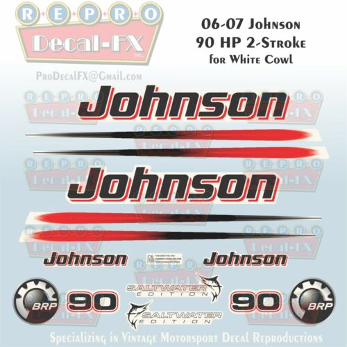 2006-07 Johnson 90 HP Two Stroke Outboard Repro Saltwater Edition 14 Pc Decals
