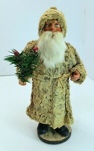 Antique-Vtg-Germany-Belsnickle-Clay-Face-Santa-Fur-Coat-Candy-Container-10-034