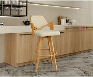 Enjoyable Details About Modern Wooden Bar Stool Faux Leather Bar Height Low Back Square Seat With Arms Evergreenethics Interior Chair Design Evergreenethicsorg