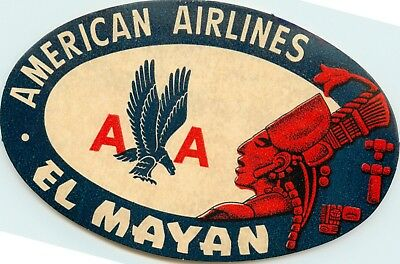EL TOLTECA ~AMERICAN AIRLINES to MEXICO~ Scarce Old Luggage Label c 1950