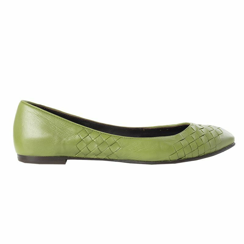 54417 auth BOTTEGA VENETA grass vert leather leather Ballet Flats chaussures 37.5