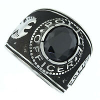 Black Sapphire Stone Police Officer Silver Stainless Steel Mens Ring