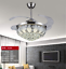 42-034-Chrome-Silver-Remote-Invisible-Ceiling-Fan-Lamp-Crystal-LED-Chandelier-Light thumbnail 4