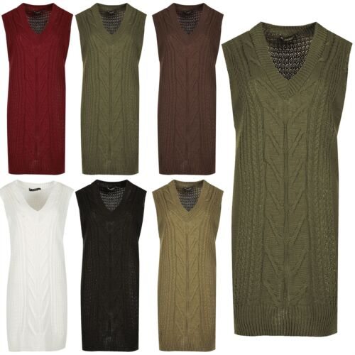 Ladies Baggy Winter Casual Jumper Womens Cable Knit Mini Dress Pullover Top