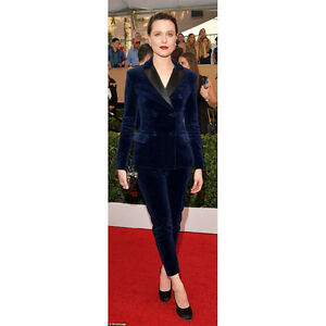 Navy Blue Womens Business Suits Velvet Double Breasted Slim Lady
