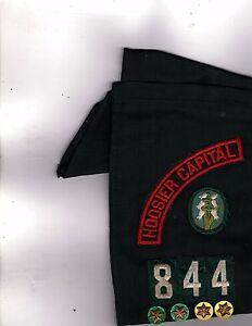 Vintage-Girl-Scout-Merit-Badge-Sash-Girl-Scout-USA-844-12-badges-Hoosier-4-pins