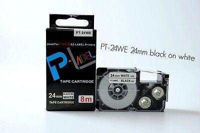 Genuine Casio XR-24WE 24mm White tape//Black ink