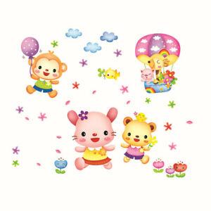Kinder-Zug-Tiere-Baer-Wandsticker-Wandtattoo-Ballon-Blume-WandAufkleber-Sticker