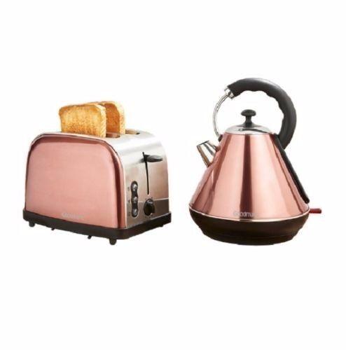 Goodmans Copper Breakfast Set Kettle Toaster Pyramide Design Luxury Modern