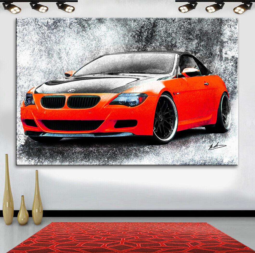 BMW M6 GT3 Autos Sportwagen Abstraktes Bilder Leinwand Wandbild XXXL 2747A