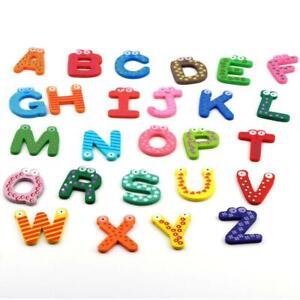 Fridge-Wooden-Magnet-Baby-Children-Toy-A-Z-ABC-Educational-Alphabet-26-Letter-WT
