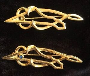 Vintage-Gold-Tone-Modernist-Fish-Pin-Brooch-Abstract-Pair