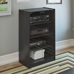 Merveilleux Details About Black AV Stereo Cabinet Media Shelves Audio Tower Electronics  Stand Glass Doors