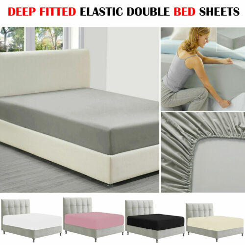 Elastic Deep Fitted Sheet Single Double King All Size Cotton Mattress Bed Sheets