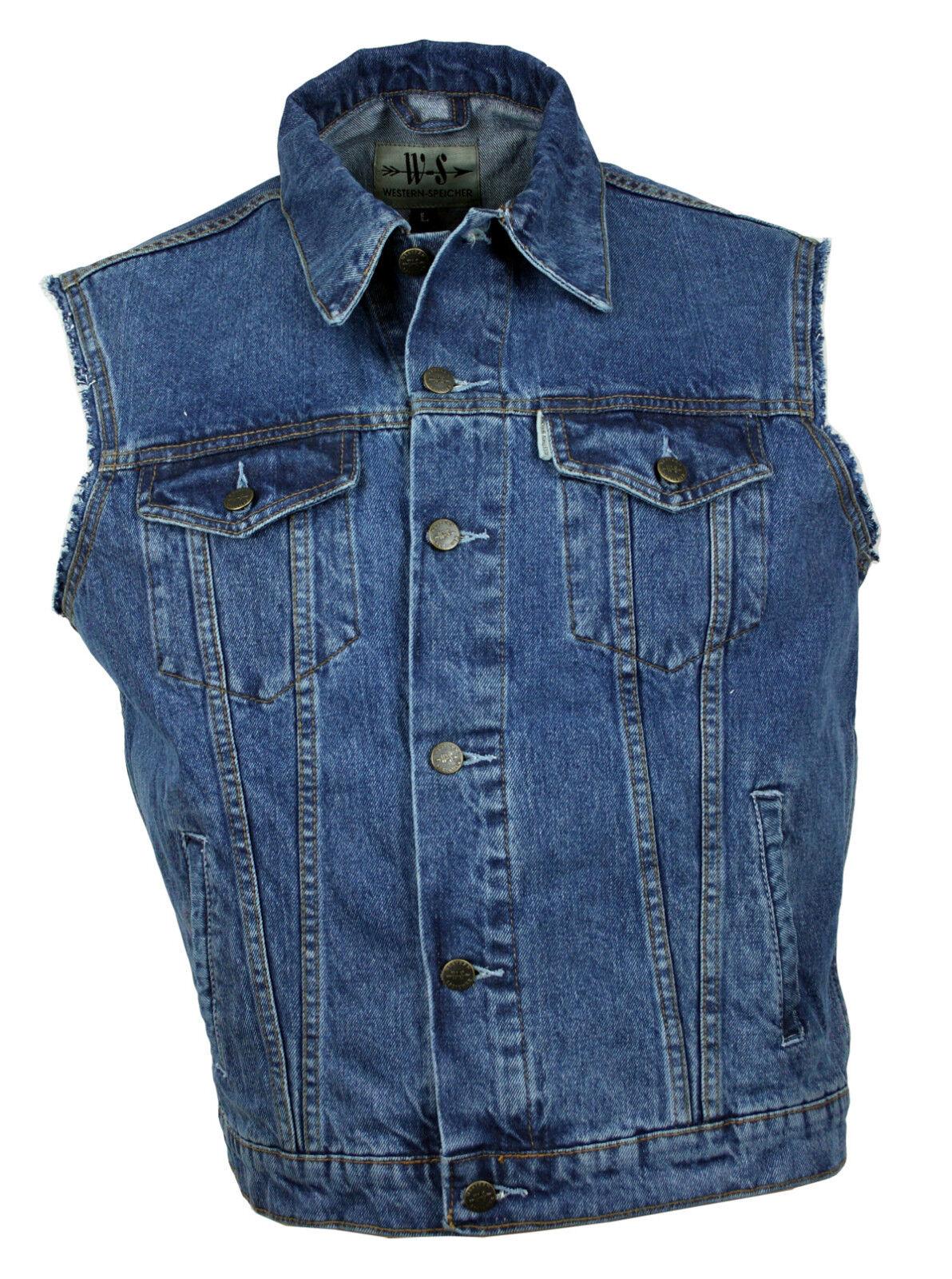 WESTERN-SPEICHER Jeansweste stonewash Kutte Weste Baumwolle Fransen blue  Gr S