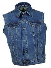 Western Speicher Jeansweste stonewash Kutte Weste Baumwolle Fransen blau  Gr 3XL
