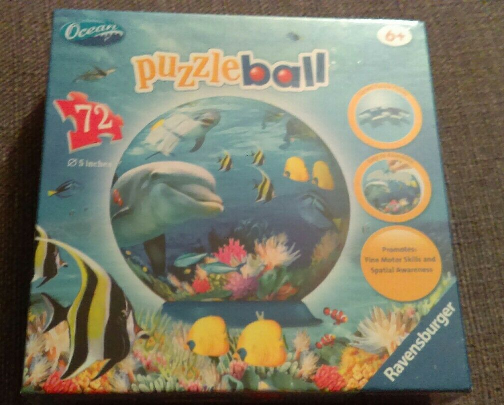 Ravensburger Ocean Puzzleball 5 inches 72 Pieces Ages 6 and Up No. 12 128 1 RARE
