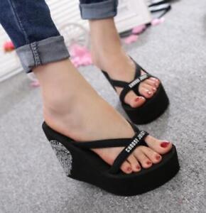 92b11ce10 women wedge high heel platform summer beach sandals flip flops shoes ...