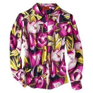 Women-039-s-Missoni-Purple-Floral-Longsleeve-Blouse-Shirt